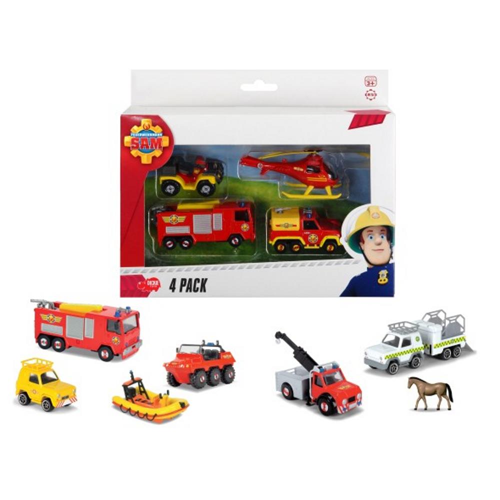 Feuerwehrm. Sam 4 Pack, 3-sort.
