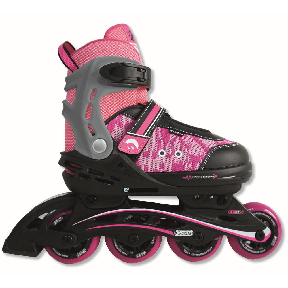 Inline Skates Größe verstellbar, ABEC 5 Carbon,  pink  girl 35-40
