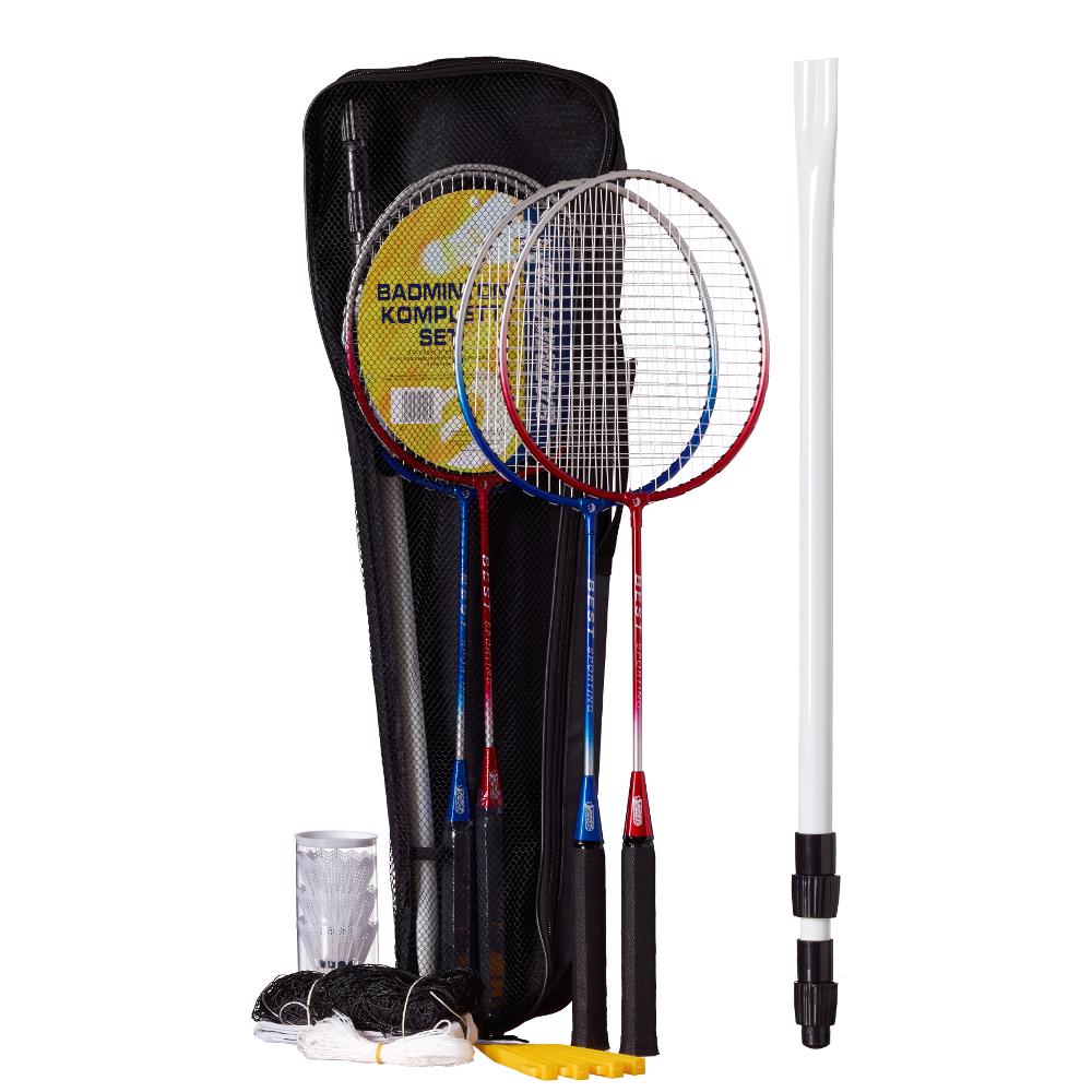 Badminton-Spiel Garnitur bestehend aus Netz, 4 Schläger, 3 Badmintonbällen, inklusive Tasche, blau-silber und rot-silber