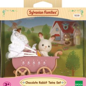 Schokoladenhasen Zwillinge mit Kinderwagen